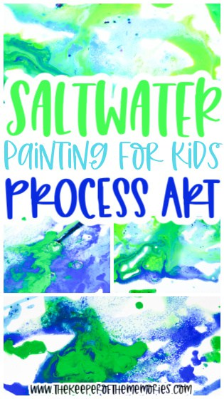 collage of ocean salt painting for kids images with text: Ocean Painting for Kids Process Art