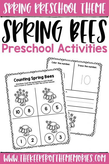 collage of Spring Bees Counting Activities with text: Spring Preschool Theme Spring Bees Preschool Activities