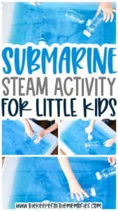 collage of submarine activity images with text: Submarine STEAM Activity for Little Kids