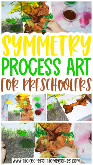 collage of flower painting process art with text: Symmetry Process Art for Preschoolers