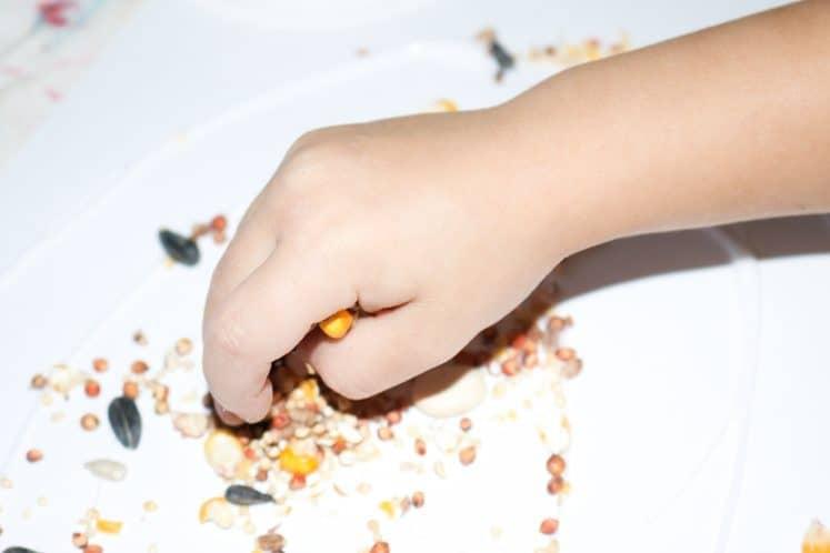 preschoolers sprinkling seeds onto cardstock for seed mosaic craft