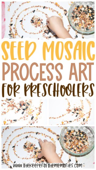 collage of seed mosaic craft images with text: Seed Mosaic Process Art for Preschoolers