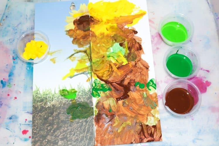 preschooler's flower painting for kids