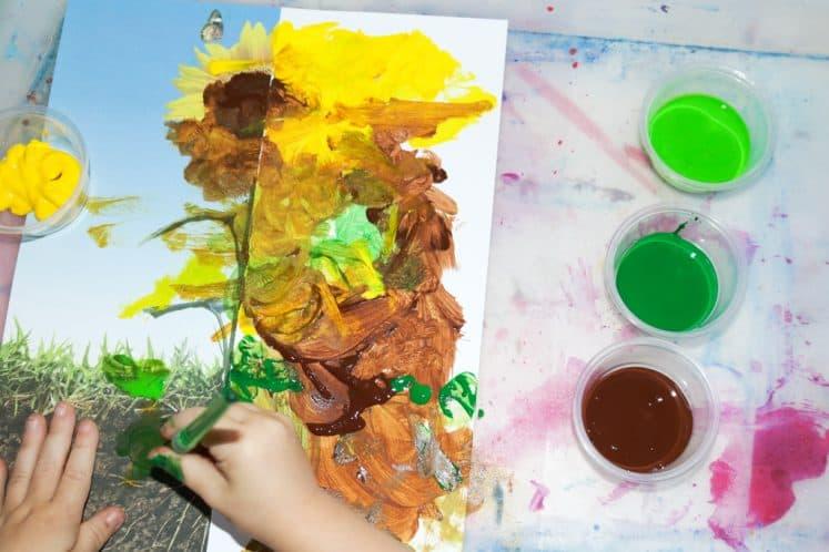 preschooler painting flower painting for kids