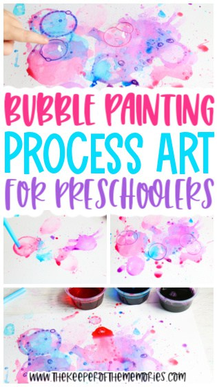 collage of Bubble Painting for Kids images with text: Bubble Painting Process Art for Preschoolers