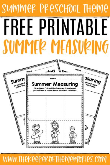 collage of Measuring Summer Preschool Worksheets with text: Summer Preschool Theme Free Printable Summer Measuring