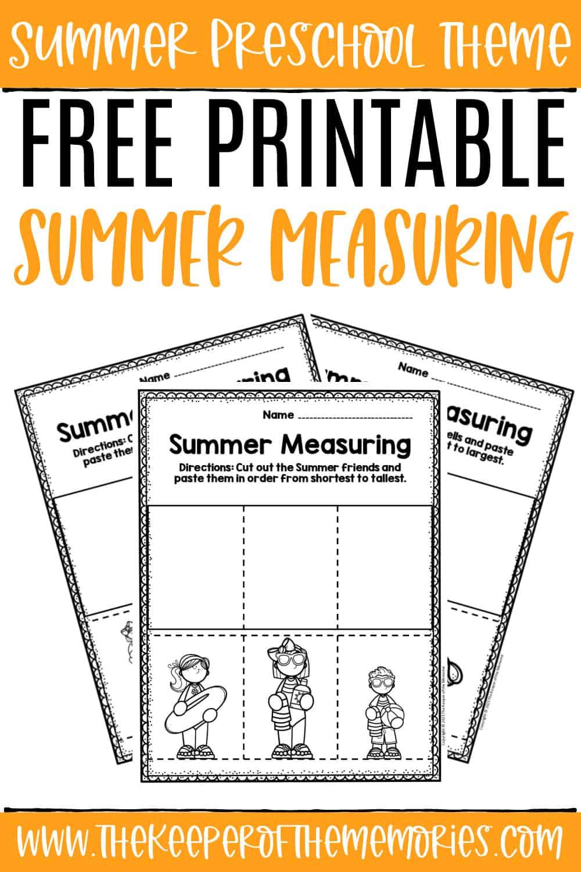 Free Printable Measuring Summer Preschool Worksheets