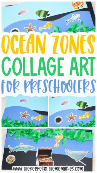 collage of Ocean Zones Collage for Kids with text: Ocean Zones Collage Art for Preschoolers