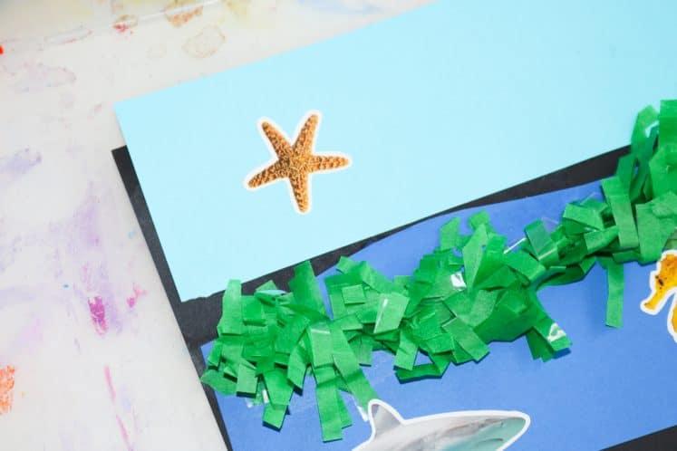 sea creature stickers on ocean zones collage