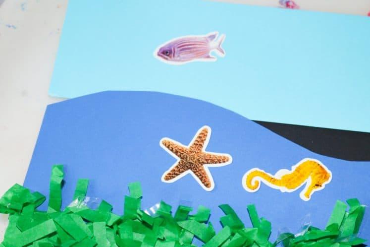 sea creature stickers on preschooler's ocean zones collage