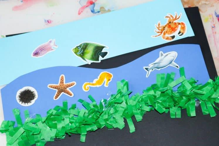 sea creature stickers on cardstock ocean zones collage