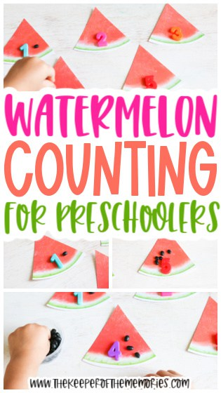 collage of watermelon counting images with text: Watermelon Counting for Preschoolers