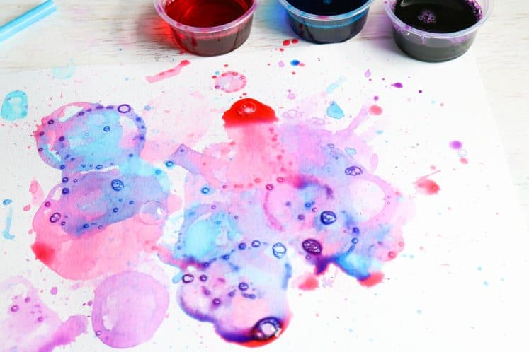 child's colorful bubble painting for kids