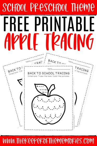 collage of apple tracing worksheets with text: School Preschool Theme Free Printable Apple Tracing
