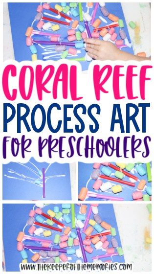 coral reef collage images with text: Coral Reef Process Art for Preschoolers