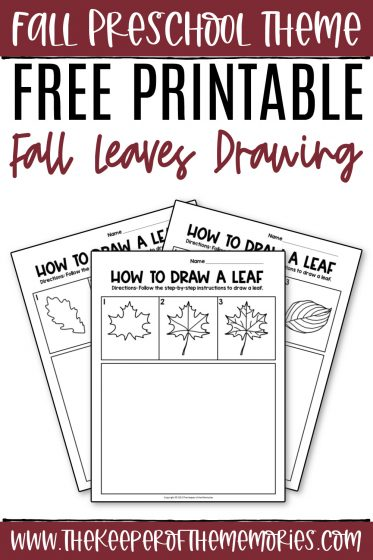 collage of fall leaves drawing printables with text: Fall Preschool Theme Free Printable Fall Leaves Drawing
