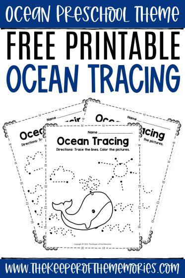 Tracing Ocean Preschool Worksheets with text: Ocean Preschool Theme Free Printable Ocean Tracing