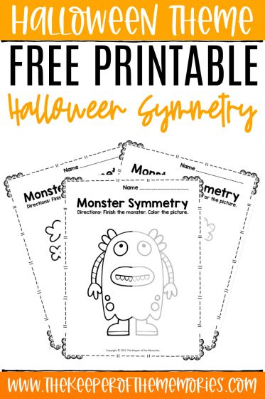 collage of monster symmetry worksheets with text: Halloween Theme Free Printable Halloween Symmetry