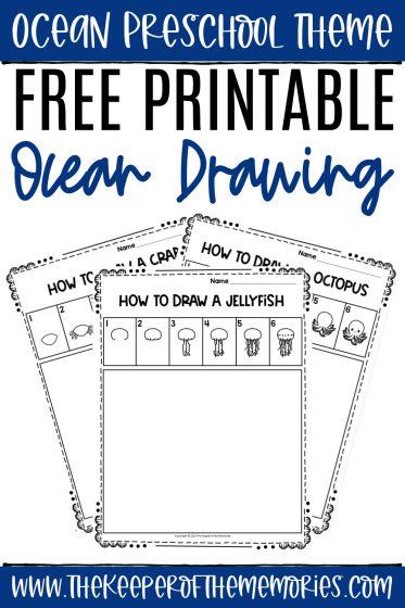 collage of ocean directed drawing worksheets with text: Ocean Preschool Theme Free Printable Ocean Drawing