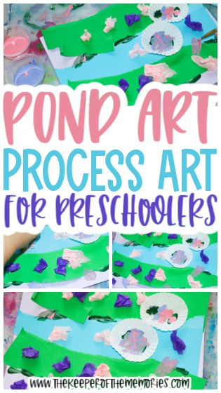 collage of pond art images with text: Pond Art Process Art Painting for Preschoolers
