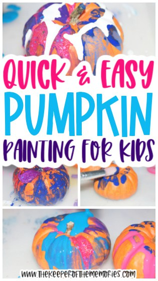 collage of pumpkin painting images with text: Quick & Easy Pumpkin Painting for Kids