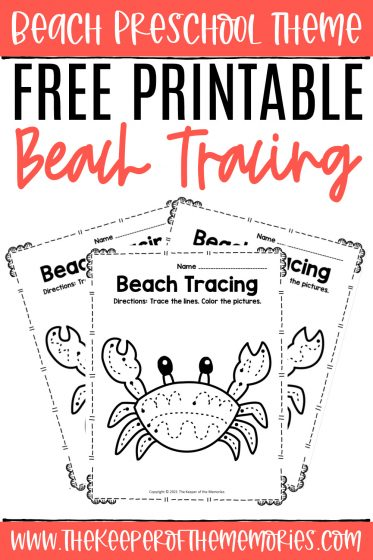 Tracing Beach Preschool Worksheets with text: Beach Preschool Theme Free Printable Beach Tracing