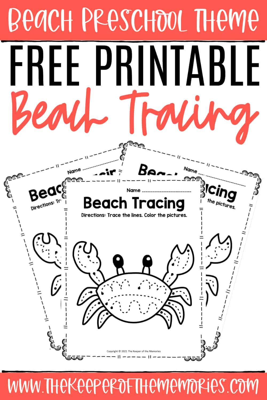 Free Printable Tracing Beach Preschool Worksheets