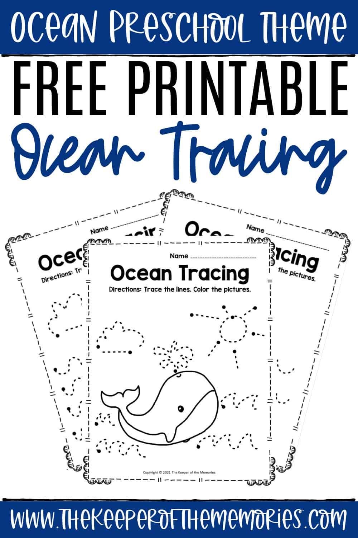 Free Printable Tracing Ocean Preschool Worksheets