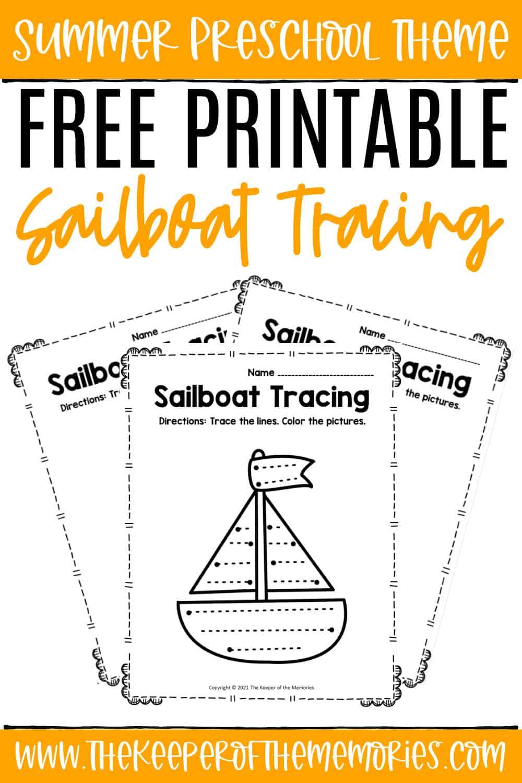 Free Printable Tracing Sailboat Preschool Worksheets