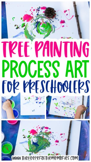 collage of tree painting images with text: Tree Painting Process Art for Preschoolers