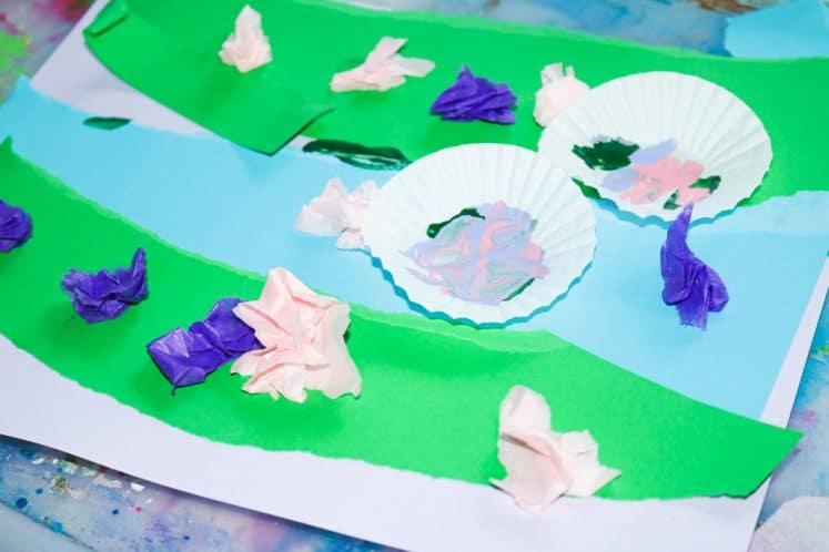 child's pond collage process art