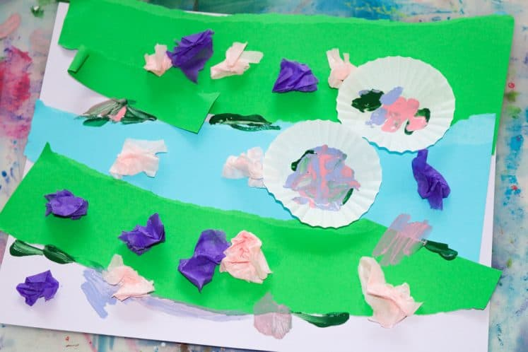 child's pond painting for kids process art