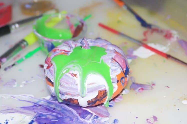 children's painted mini pumpkins