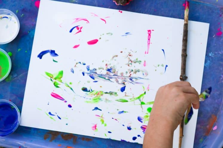 preschooler's tree painting art