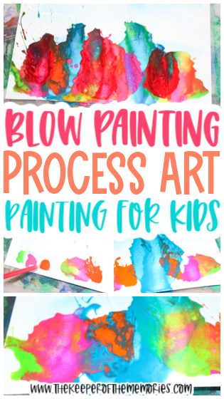 collage of blow painting for kids images with text: Blow Painting Process Art Painting for Kids