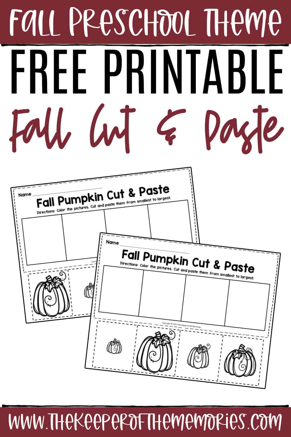Free Printable Fall Cut and Paste Worksheets
