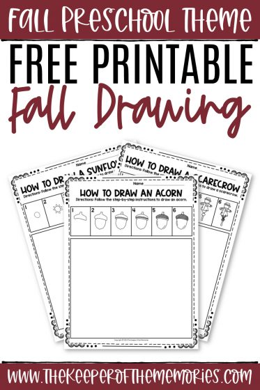 collage of fall drawing worksheets with text: Fall Preschool Theme Free Printable Fall Drawing