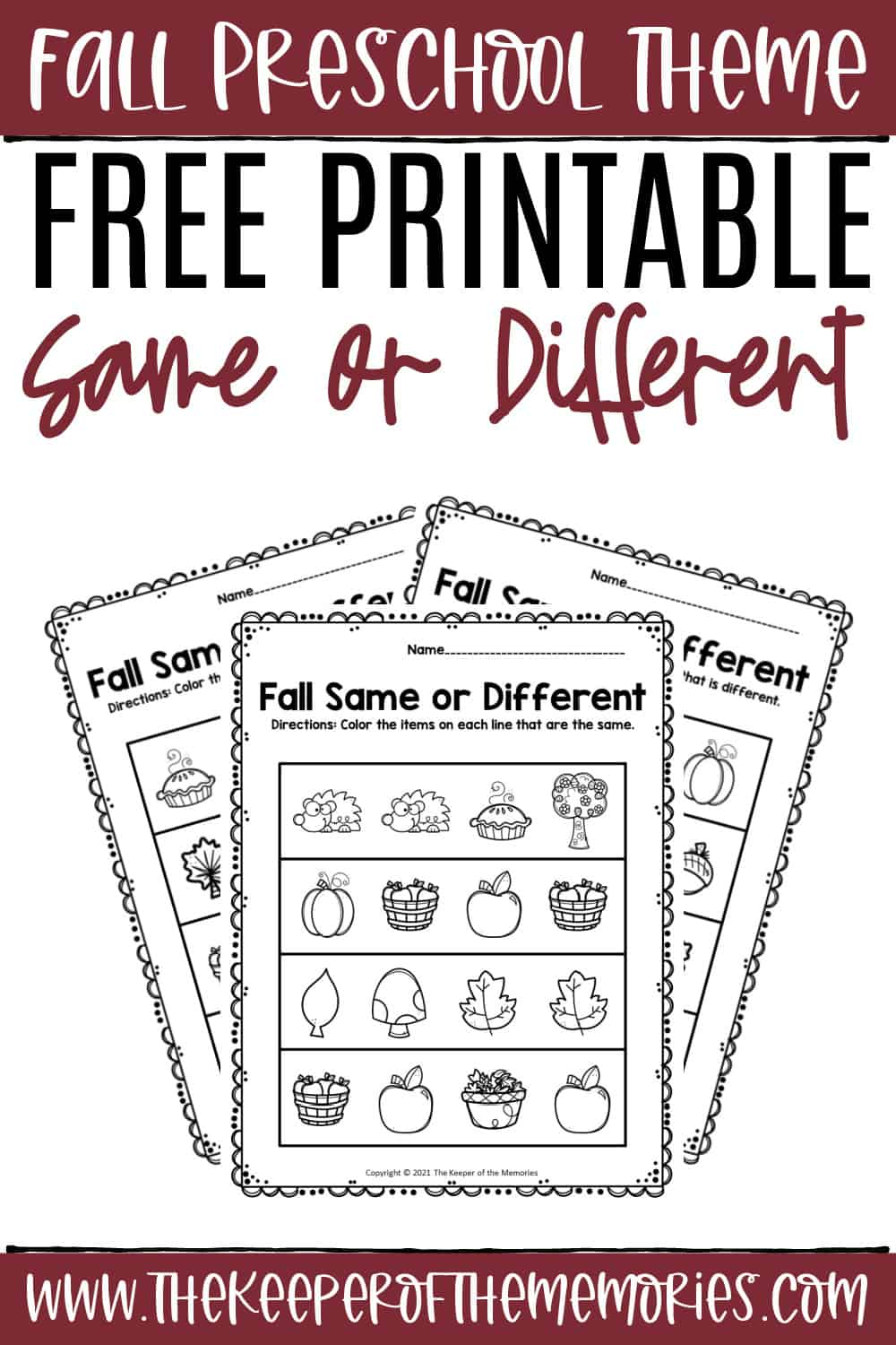 Free Printable Fall Same and Different Worksheets