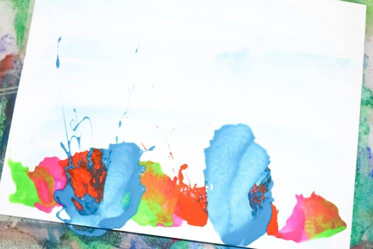 child's blow painting process art
