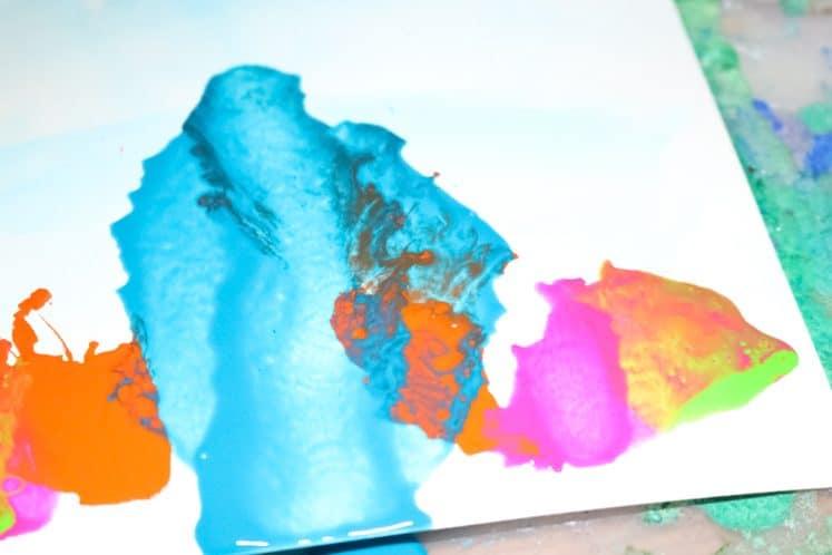paint splattered on cardstock