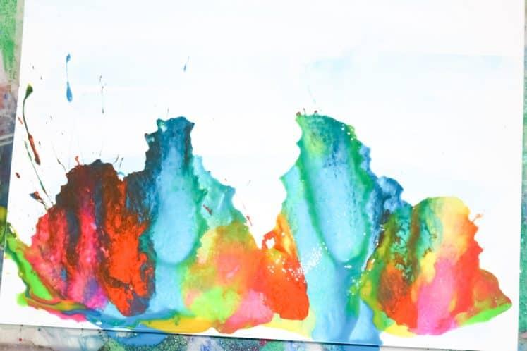 child's straw painting process art
