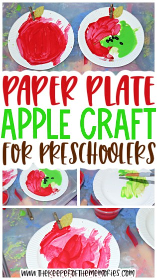 collage of apple painting images with text: Paper Plate Apple Craft for Preschoolers