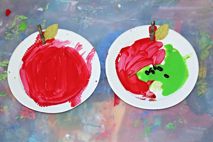 preschool apple painting on tray