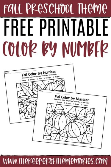 collage of Fall Color by Number printables with text: Fall Preschool Theme Free Printable Color by Number