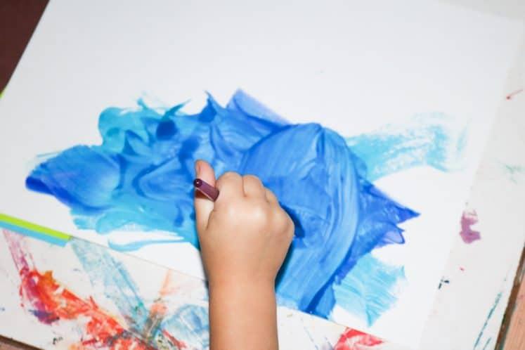 preschool painting river on cardstock