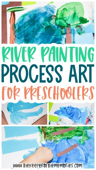 collage of river painting for kids images with text: River Painting Process Art for Preschoolers